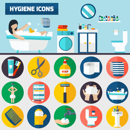 personal hygiene: Personal hygiene bathroom tube and accessories flat icons composition 2 horizontal banners set abstract isolated vector illustration Illustration