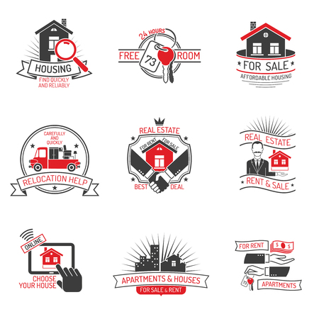 estates: Real estate for rent and sale black red labels set on white background isolated vector illustration