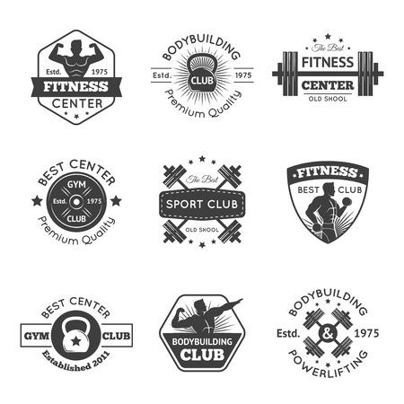 levantar pesas: Centro de fitness y gimnasia deportiva emblemas establece la ilustración vectorial aislados Vectores