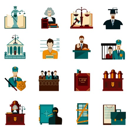 Law crime and punishment flat icons set isolated vector illustration