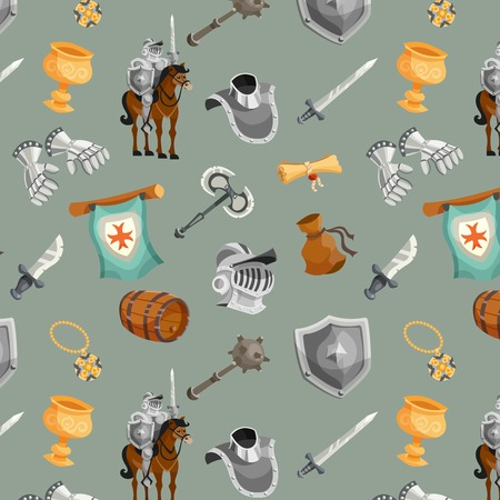 shield and sword: Medieval knight with armor and weapon cartoon seamless pattern vector illustration