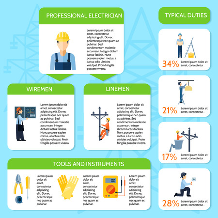 electrical equipment: Electricity flat infographic poster presenting electrician service by various elements on transparent background isolated vector illustration Illustration