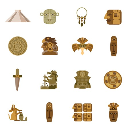 ancient civilization: Flat icon maya indian tribal religion symbols set isolated vector illustration