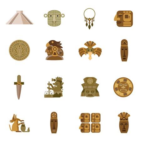 Flat icon maya indian tribal religion symbols set isolated vector illustration