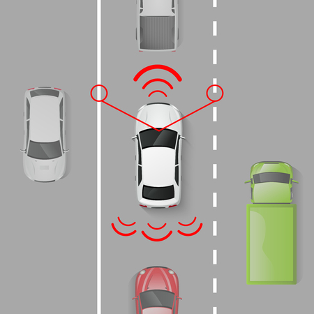 connected: Car safety system with top view auto in motion on the road vector illustration