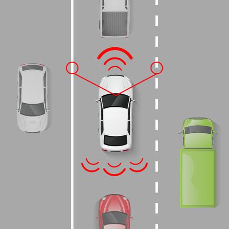 Système de sécurité automobile avec vue de dessus auto en mouvement sur l'illustration vectorielle de route