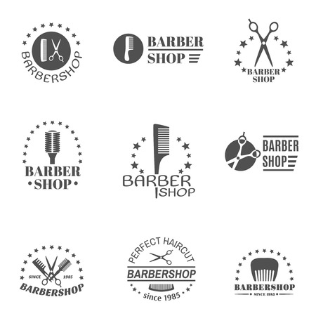 black barber: Premium quality barber shop black label set isolated vector illustration Illustration