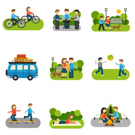 viaje familia: excursión icono de plano con las personas actividades al aire libre aislado ilustración del vector Vectores
