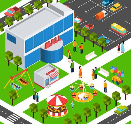 niños de compras: comercial City área de construcción centro comercial con estacionamiento y patio de la calle vista isométrica bandera resumen ilustración vectorial Vectores