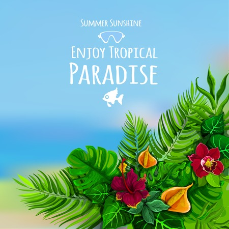 notion: Tropical poster with monstera flower and sea on background vector illustration Illustration