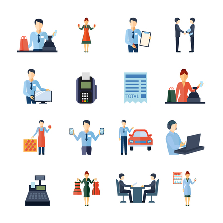 Salesman figure shopman e altri venditori icons set piatto isolato illustrazione vettoriale