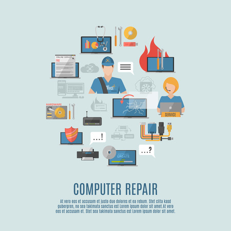 computer icons: Computer repair and maintain internet security services flat icons composition poster with antivirus shield abstract vector illustration
