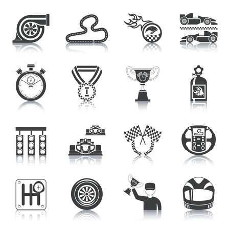 sport icon: Racing icons black set with trophy auto helmet timer isolated vector illustration