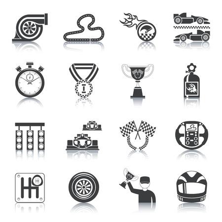 symbol sport: Racing-Icons schwarz Set mit Troph�e Auto Helm Timer isolierten Vektor-Illustration