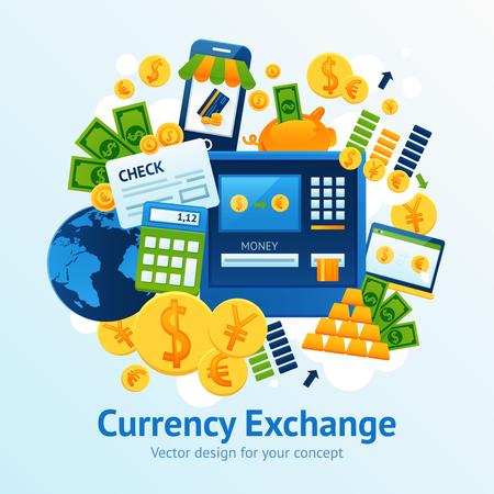 bank transfer: Currency exchange concept with financial market symbols set vector illustration