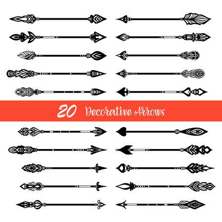 flechas direccion: Veinte flechas dibujadas a mano negras horizontales establecidas en el estilo de la vendimia en el fondo blanco aislado ilustración vectorial