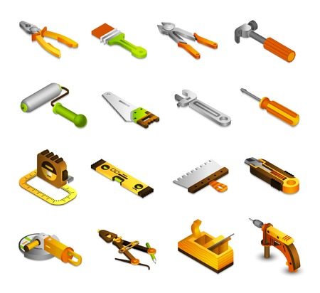 drill: Tools isometric icons set with 3d saw paint roller pliers isolated vector illustration