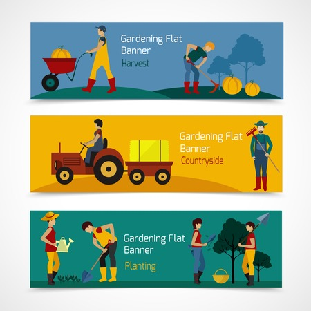 Gardening people horizontal banners set with vegetable and fruit trees planting flat icons isolated vector illustration Illustration