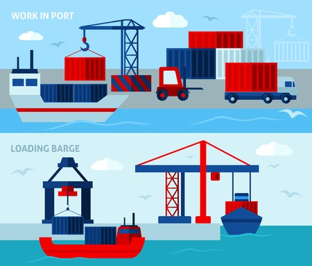 sea seaport: Flat color seaport   horizontal banners  illustrating work in port vector illustration