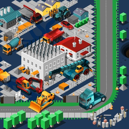 road construction: Isometric construction machines concept with low poly tracktors and bulldozers on the road vector illustration