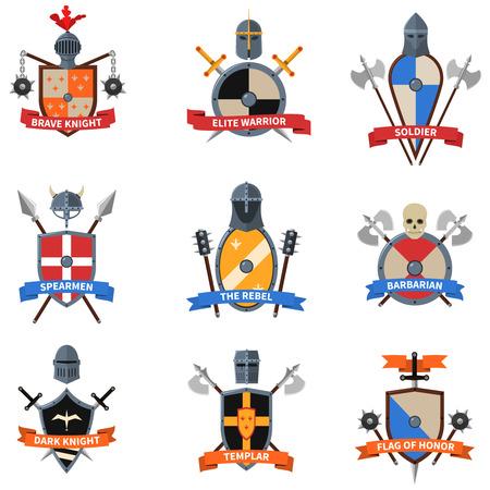 rycerz: Legendarni rycerze wojownicy herby emblematy płaskiej etykiety kolekcji z tarcze heraldyczne abstrakcyjne Izolowane ilustracji wektorowych Ilustracja