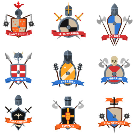 crusader: Legendary knights warriors coats of arms emblems flat labels collection with heraldic shields abstract isolated vector illustration