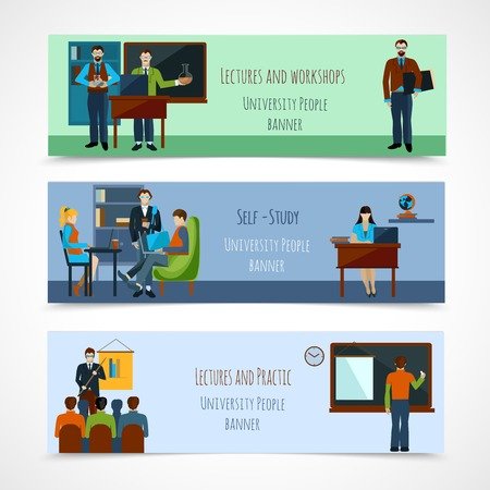 lectures: University people horizontal banner set with lectures and workshops isolated vector illustration