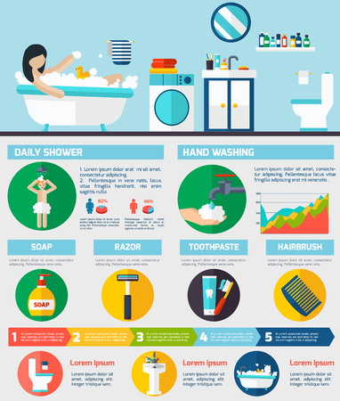 Daily morning shower and personal hygiene procedures infographic  presentation poster with round flat pictograms abstract vector illustration
