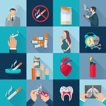 smoking stop: Smoking addiction flat long shadow icons set isolated vector illustration