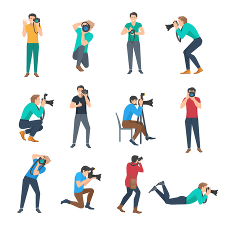 Male photographer full lenght avatars set flat isolated vector illustration