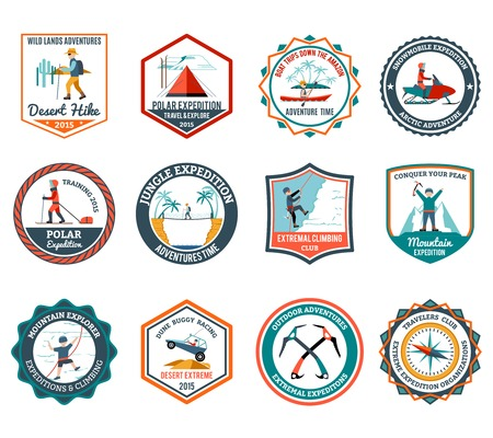 traveller: Desert jungle and mountain expedition emblems set isolated vector illustration