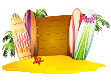 summer trees: Summer vacation  poster  surfboards sand   starfish and  palm trees  vector illustration