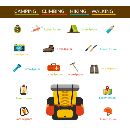summit: Camping climbing and hiking flat icons set isolated vector illustration
