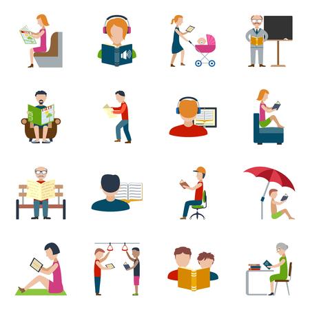 personas leyendo: La gente que lee libros y revistas iconos planos conjunto aislado ilustración vectorial