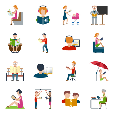 books isolated: People reading books and magazines flat icons set isolated vector illustration