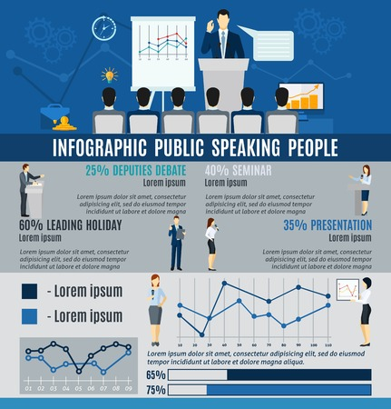 public: Infographic public people speaking to audience from  podium   statistics  and graphs flat  vector illustration.