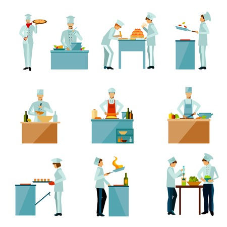 Resataurant chef and people cooking food flat icons set isolated vector illustration Illustration