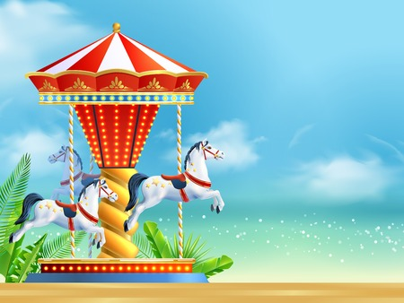 Realistic carousel with three horses on summer sky background vector illustration