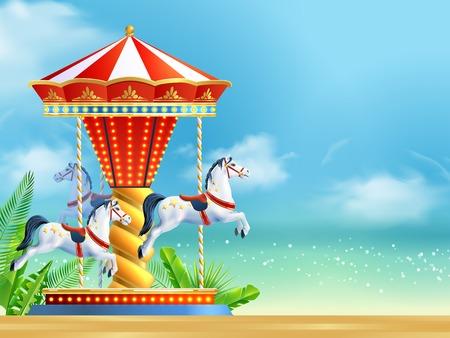 Realistische carrousel met drie paarden op zomer hemel achtergrond vector illustratie Stock Illustratie