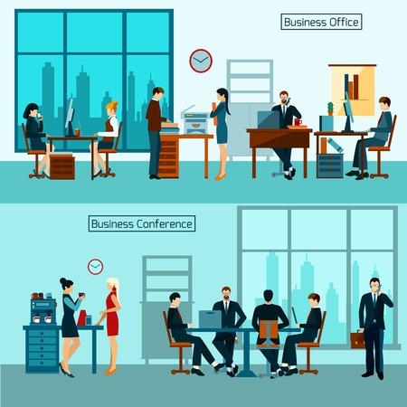 design office: Office worker horizontal banner set with business conference isolated vector illustration Illustration