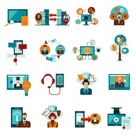 peer to peer: La educación en línea y los iconos decorativos e-learning establece la ilustración del vector aislado Vectores
