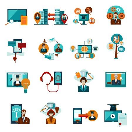 university: Online education and e-learning decorative icons set isolated vector illustration