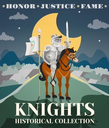 caballero medieval: Cartel Caballero con guerrero con armadura en caballo con el paisaje de la noche en el fondo ilustraci�n vectorial de dibujos animados