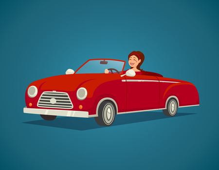female driver: Woman driver with red cabriolet on blue background cartoon vector illustration