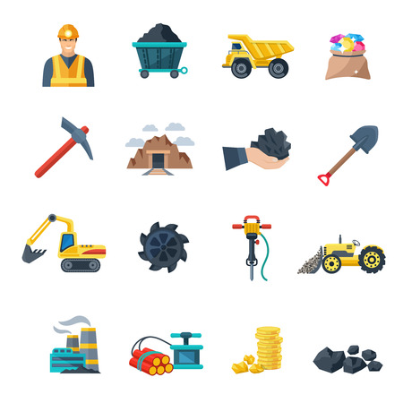 camion minero: Industria minera y de extracci�n de minerales Iconos de equipos plana conjunto aislado ilustraci�n vectorial