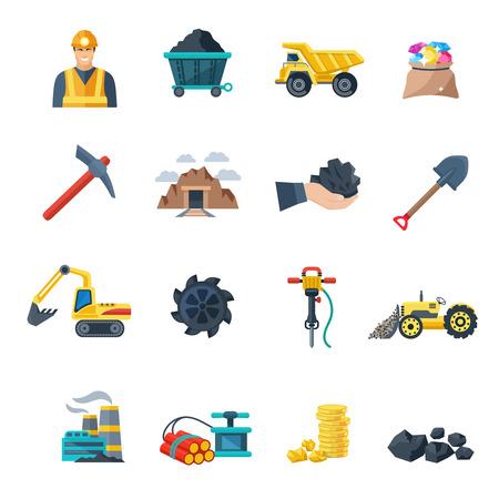 Industria mineraria e dell'estrazione mineraria attrezzature icone piatto insieme isolato illustrazione di vettore Archivio Fotografico - 47628216