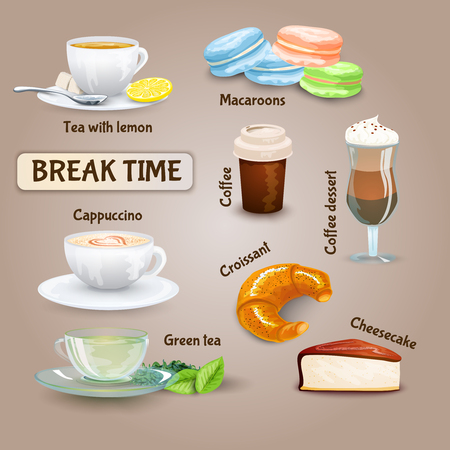 macaroon: Coffee break decorative icons set with cappuccino croissant and macaroon cookies isolated vector illustration