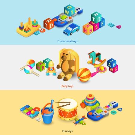 educativo: Juguetes banners horizontales establecidas con los juguetes educativos divertido bebé isométrica ilustración vectorial aislado