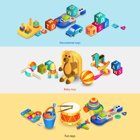 Toys horizontal banners set with isometric fun baby educational toys isolated vector illustration Illustration