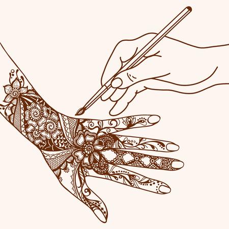 mehandi: Hand drawing mehendi pattern on female palm sketch vector illustration Illustration